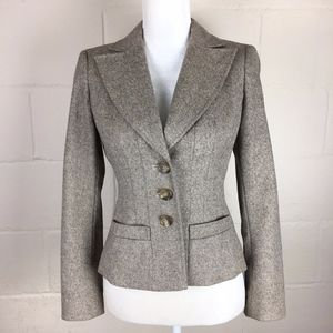 Ann Taylor wool tweed brown blazer 4 petite